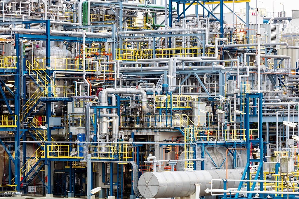 Metal Pipe Factory Installations, Oil Refinery Plant Area stock photo