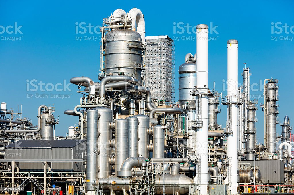Metal pipe factory installations stock photo