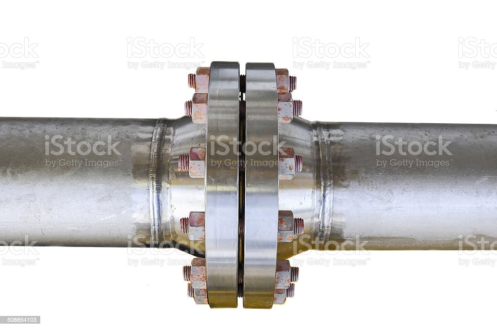 Metal pipe flanges with bolts on an isolated background stock photo