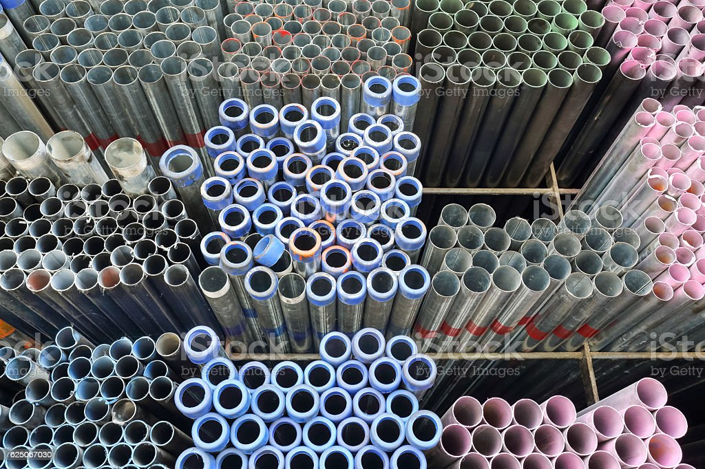 metal pipe for construction stock photo