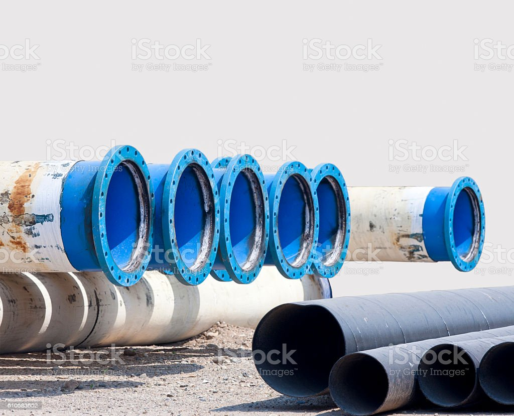 Metal pipe for water city supply stock photo