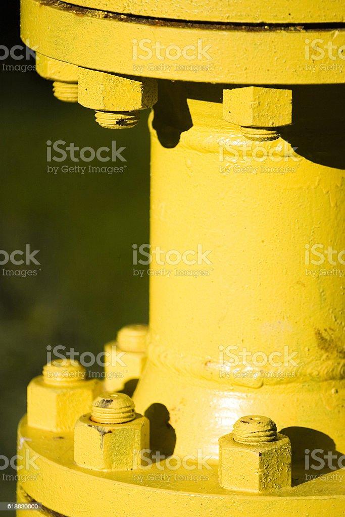 Metal pipe junction stock photo