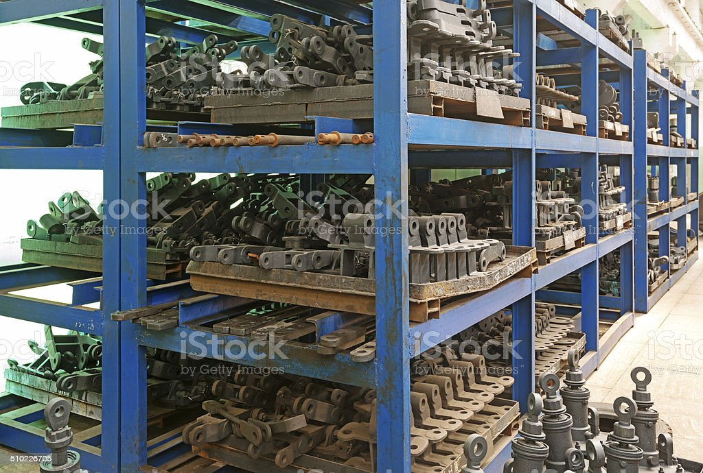 Metal pipe stack on shelf stock photo