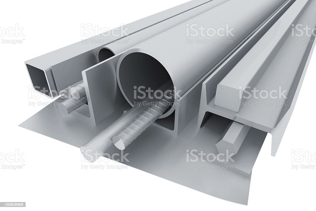 Metal pipes, angles, channels, fixtures and sheet stock photo
