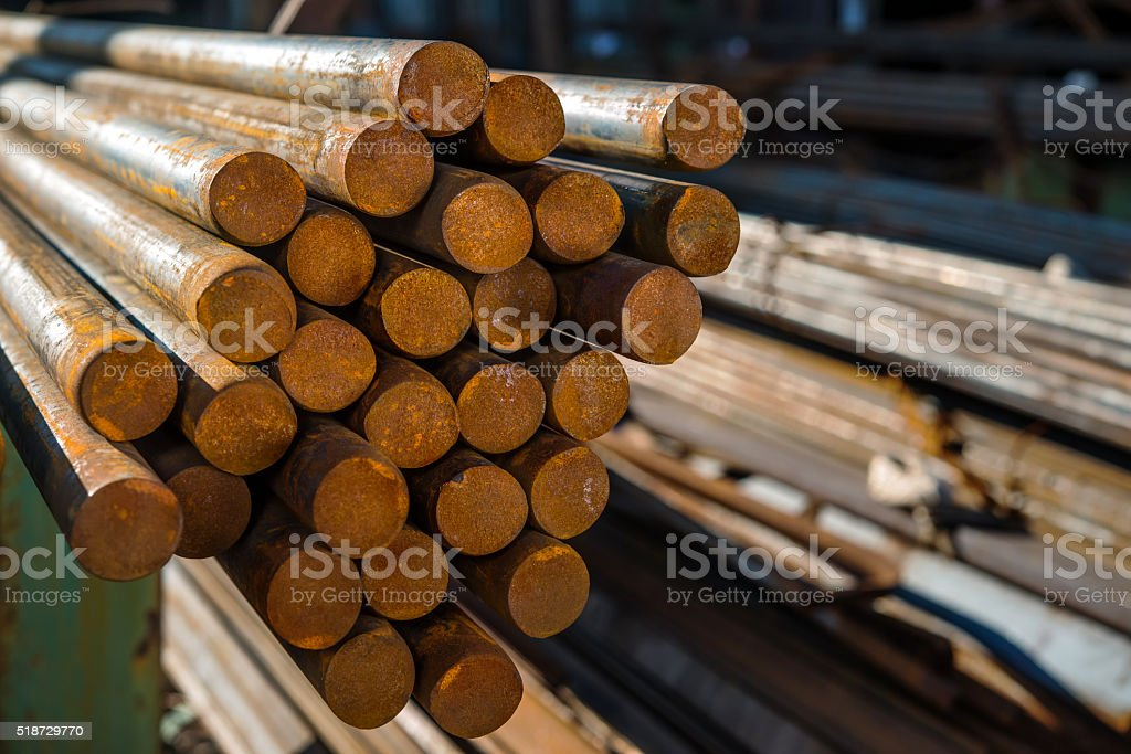 metal pipes are stored at the factory warehouse stock photo