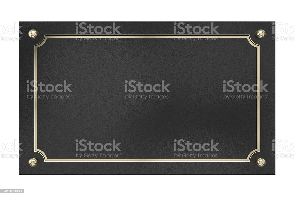 Metal Plaque. Isolated on white. stock photo