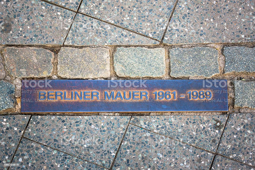 Metal plate showing the course of the Berlin Wall stock photo