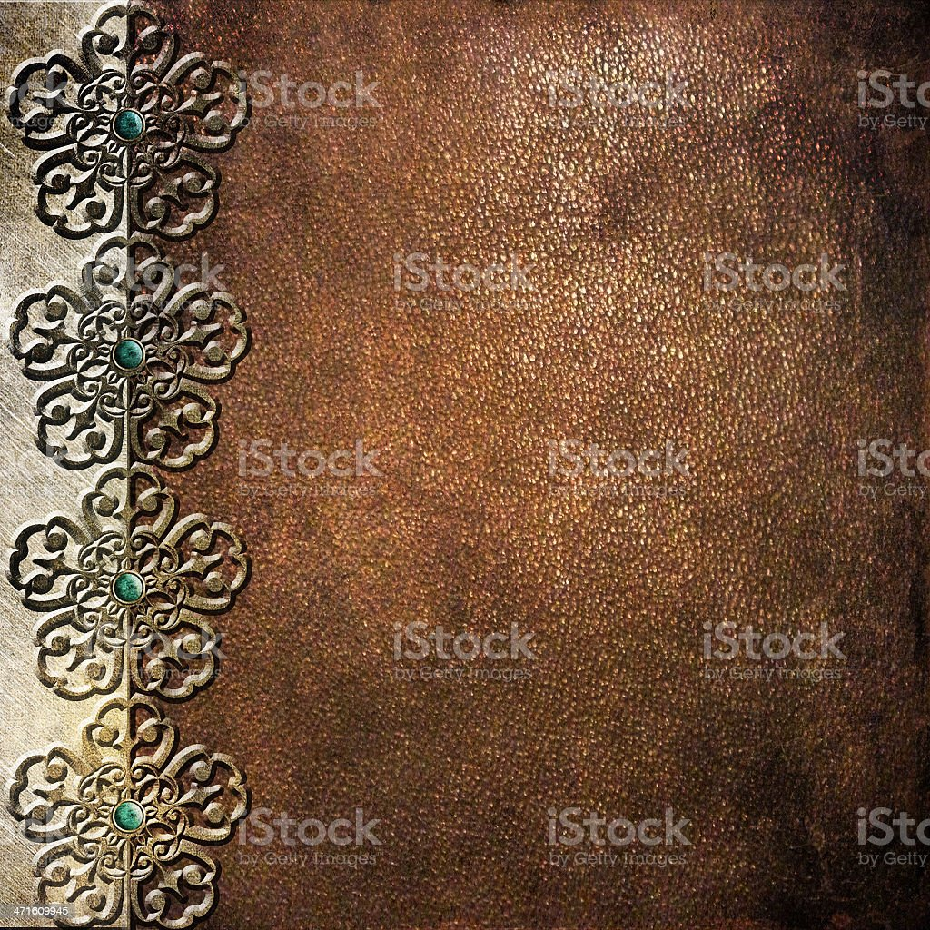 Metal plate with leather background royalty-free stock photo
