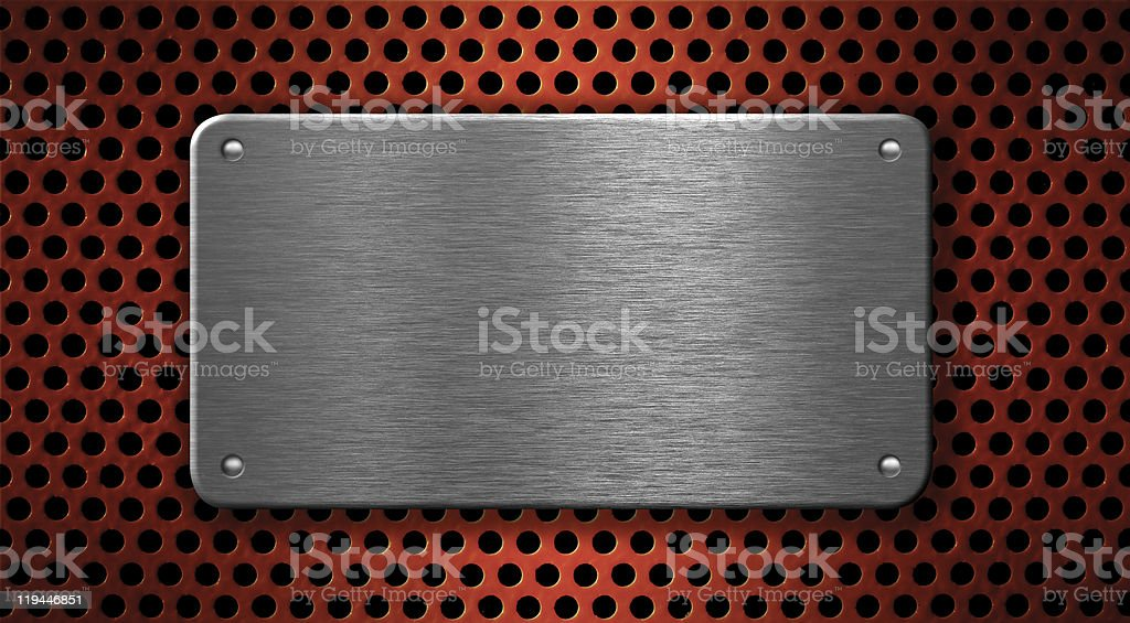 metal plate with rivets over red grid industrial background royalty-free stock photo