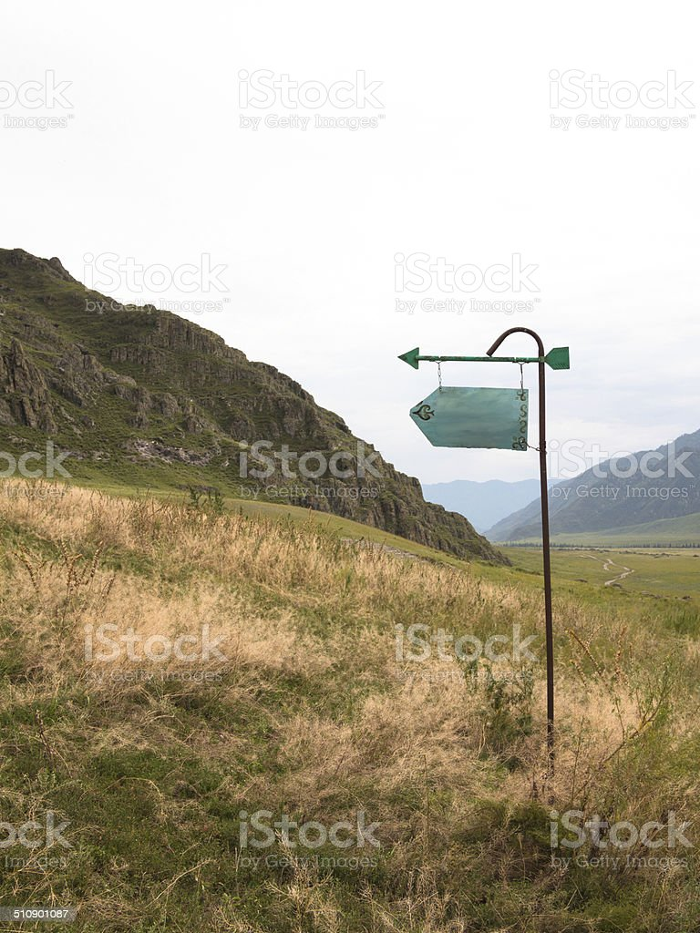 Metal pole with a sign stands in a clearing stock photo