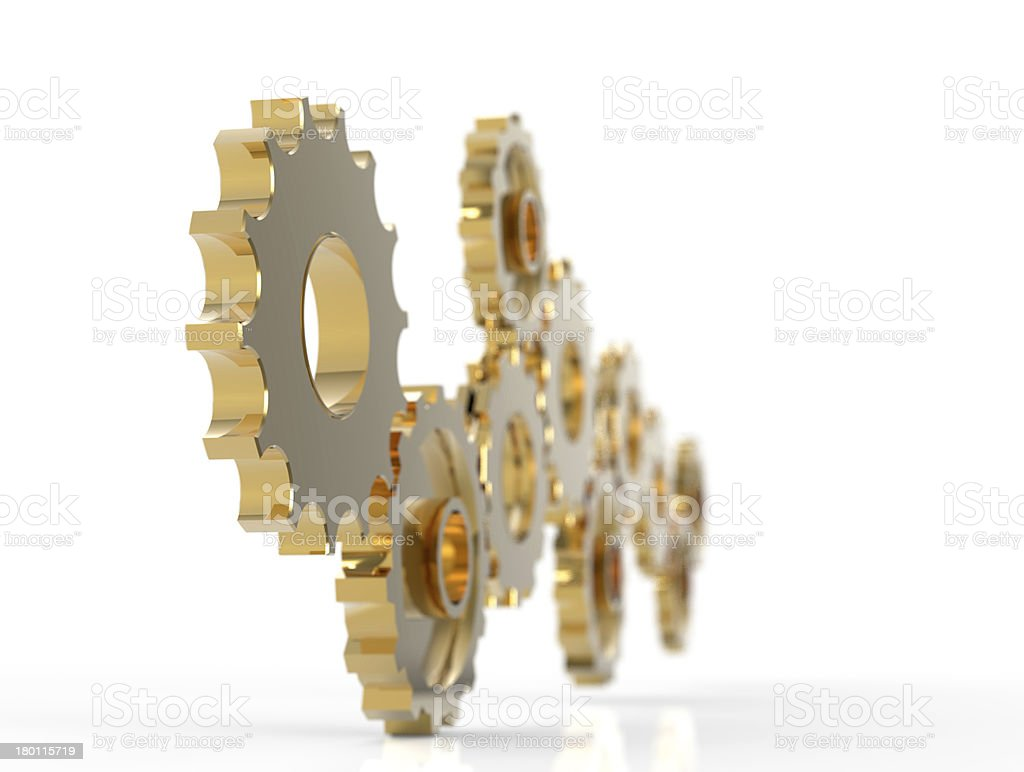Metal polished gears stock photo