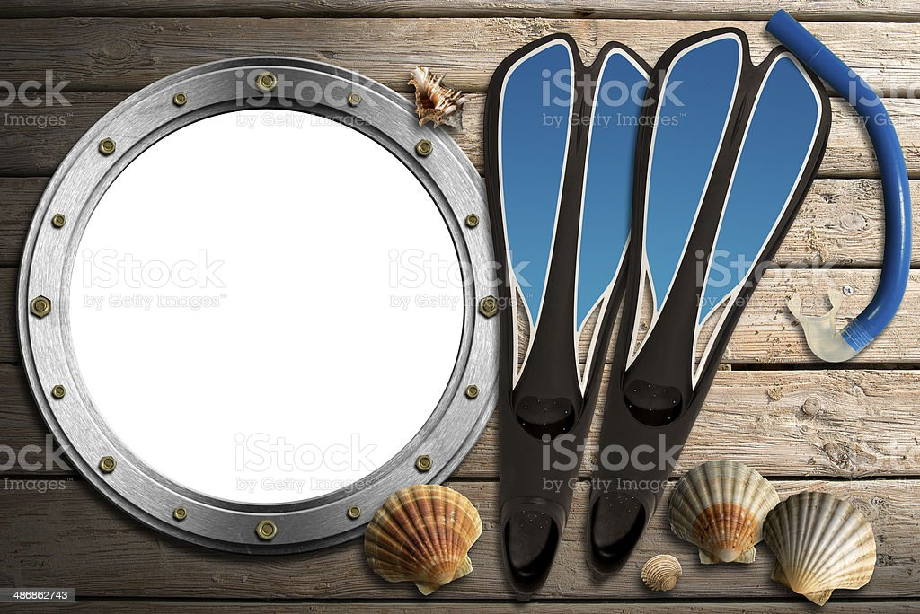 Metal Porthole on Wooden Boardwalk with Sand royalty-free stock photo
