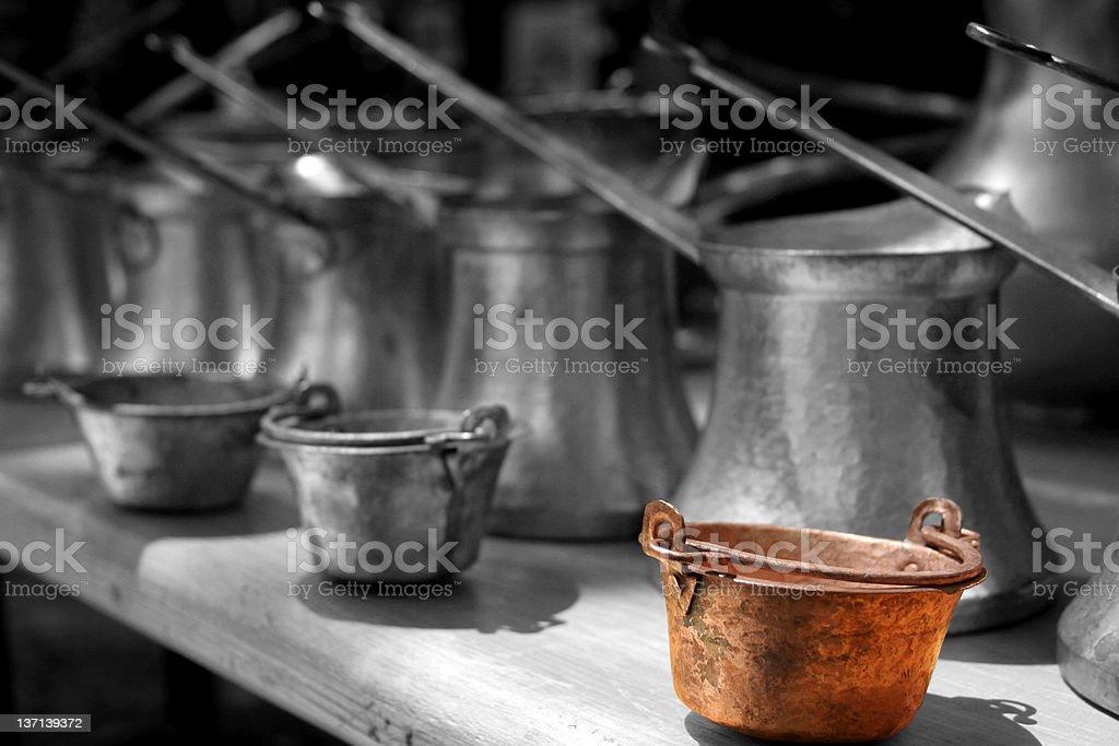 metal pots royalty-free stock photo
