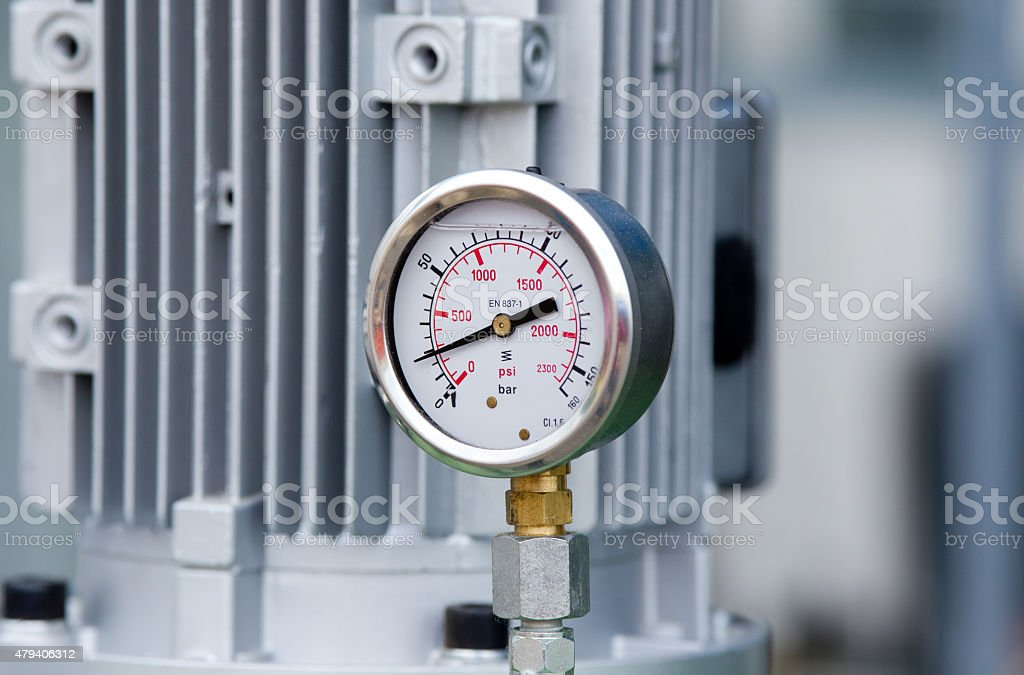 Metal manometer stock photo