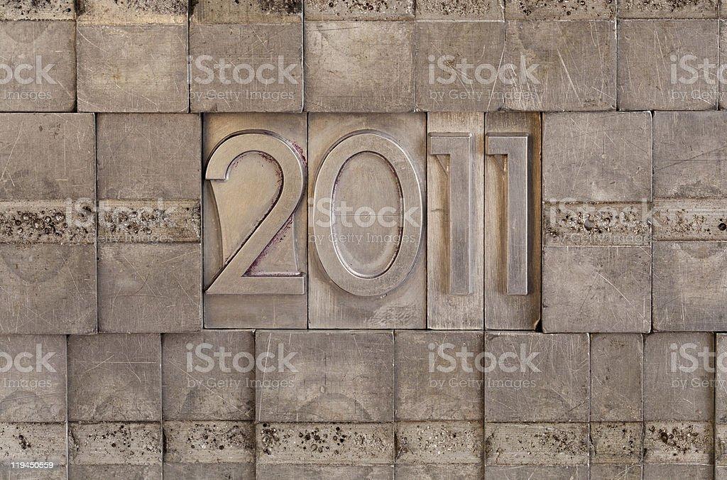 2011 - metal printing blocks background royalty-free stock photo