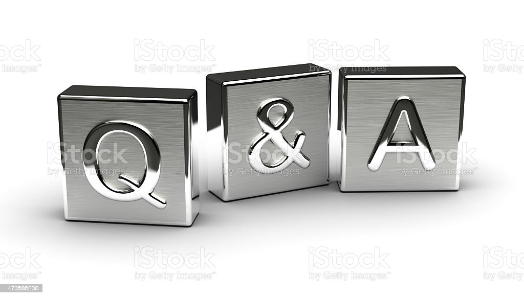 Metal Q&A Text stock photo