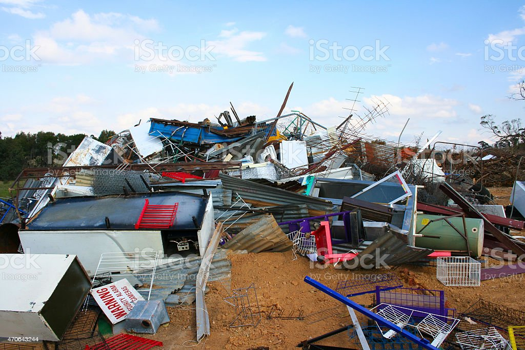 Metal recycling at dump stock photo