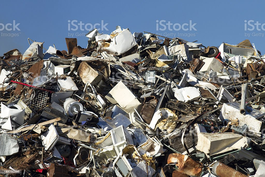 Metal Recycling Junkyard, Thin Blue Sky Horizontal royalty-free stock photo