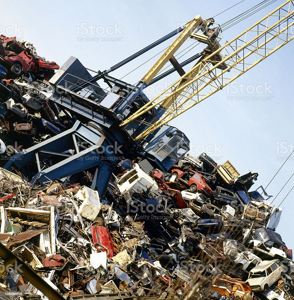 Metal recycling site over blue sky royalty-free stock photo