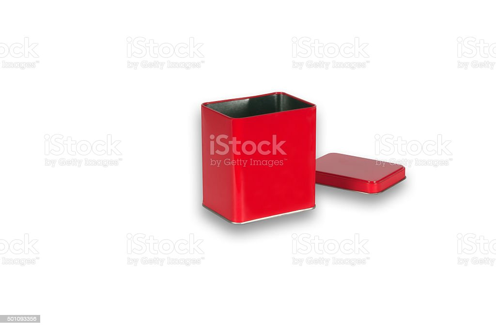 metal red box with  a cap with isolated object stock photo