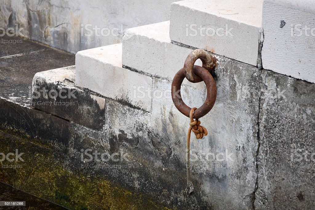 Metal ring and hook on the old gath stock photo