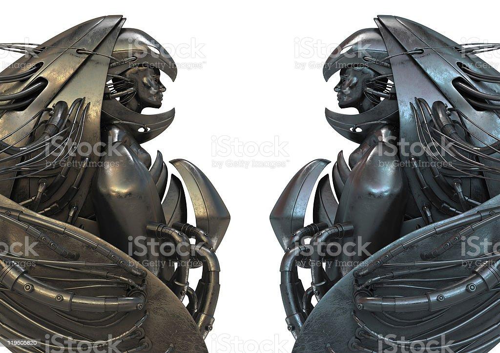 Metal robotic archangel royalty-free stock photo