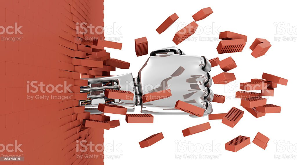 Metal Robotic Hand Breaking Through From Red Brick Wall stock photo