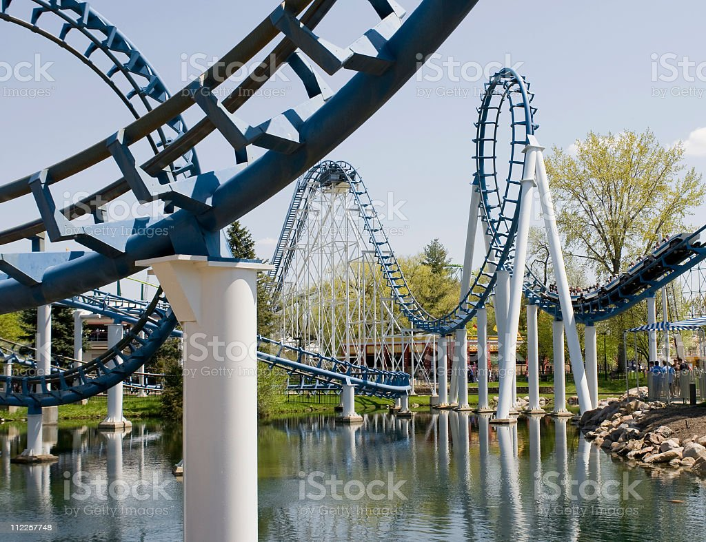 Metal Rollercoaster curves, roller coaster royalty-free stock photo