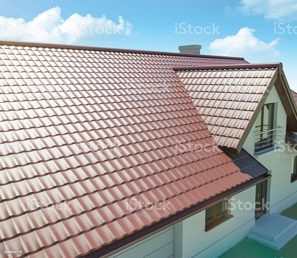 Metal roof on a house stock photo