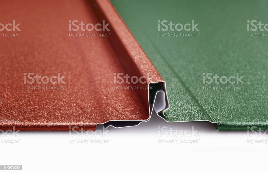Metal roof panels connection with snap lock stock photo