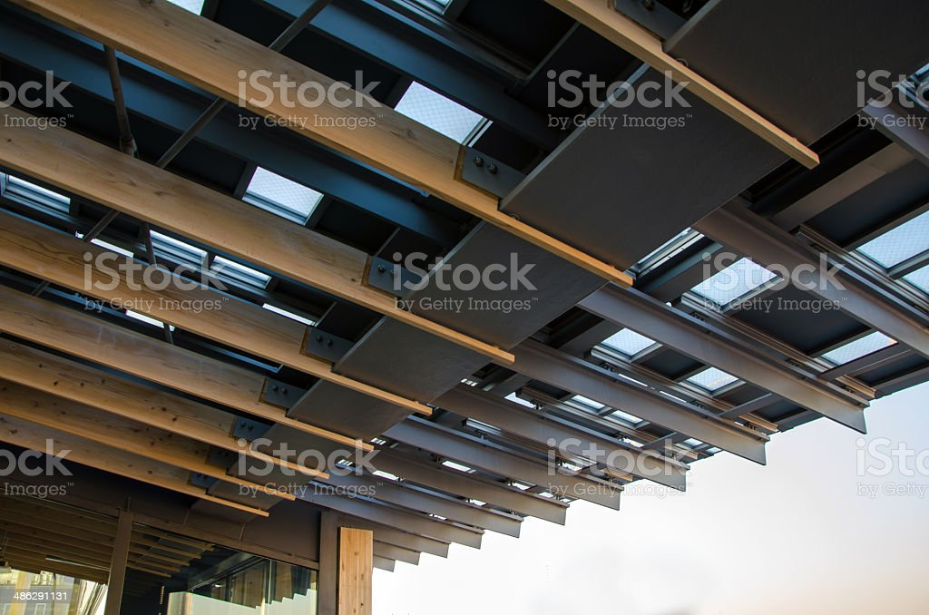 Metal roof with wood rafter stock photo