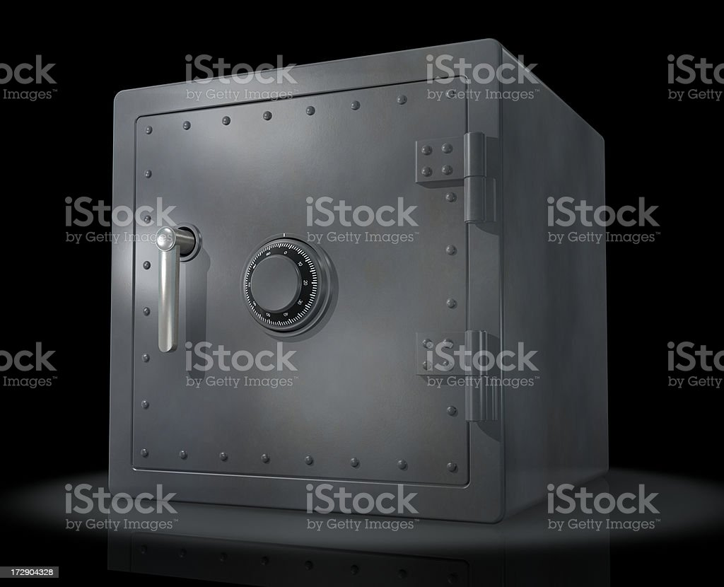 Metal Safe On Black royalty-free stock photo
