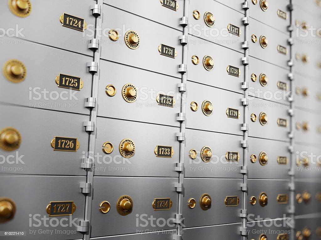 Metal safety deposit boxes stock photo