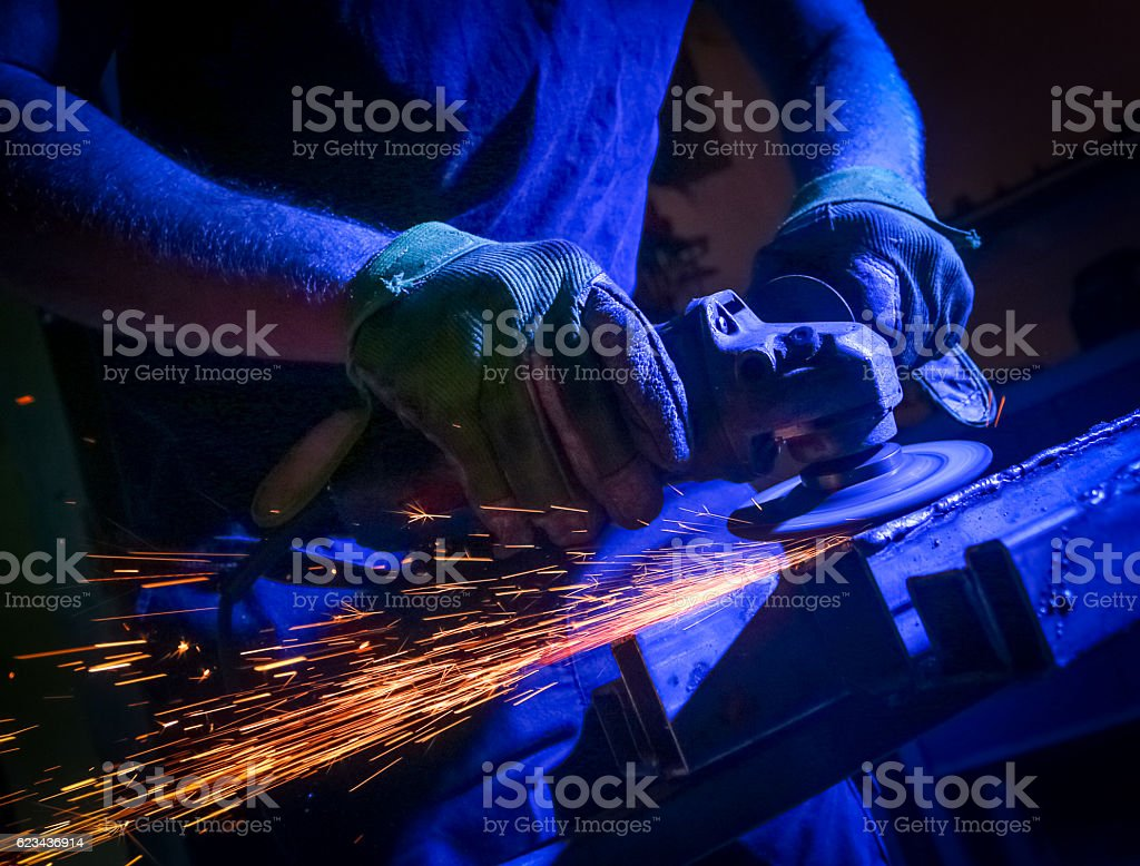 metal sawing close up stock photo