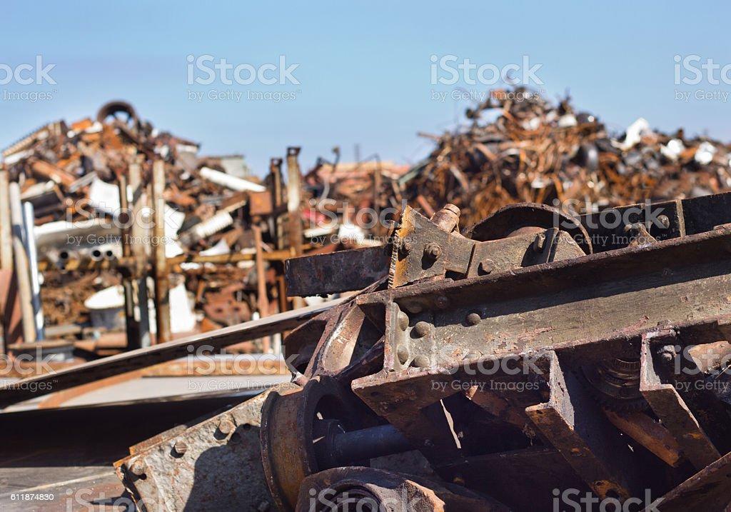 Metal scrap in junkyard stock photo