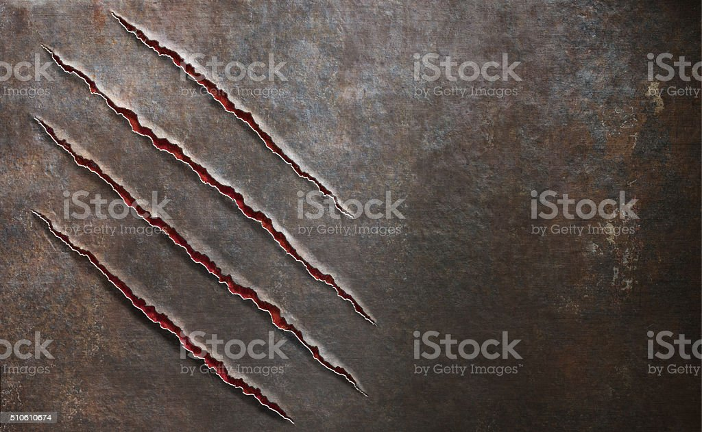 metal scratched by beast claw marks background stock photo
