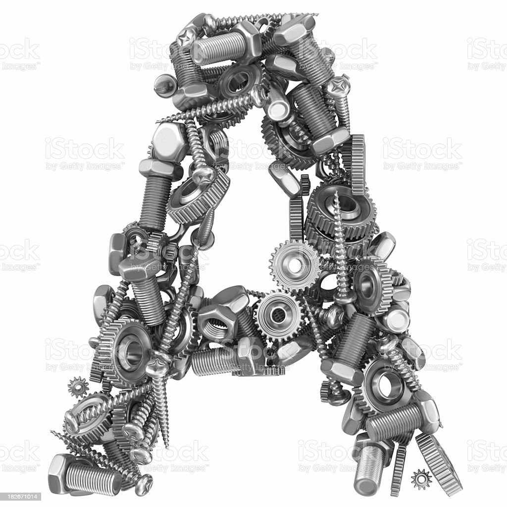 metal screw and gear letter A royalty-free stock photo