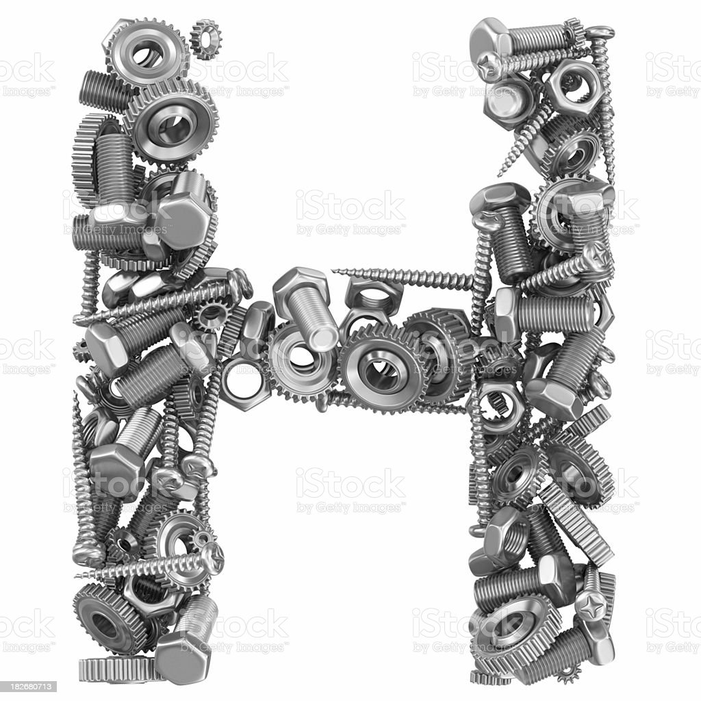 metal screw and gear letter H royalty-free stock photo