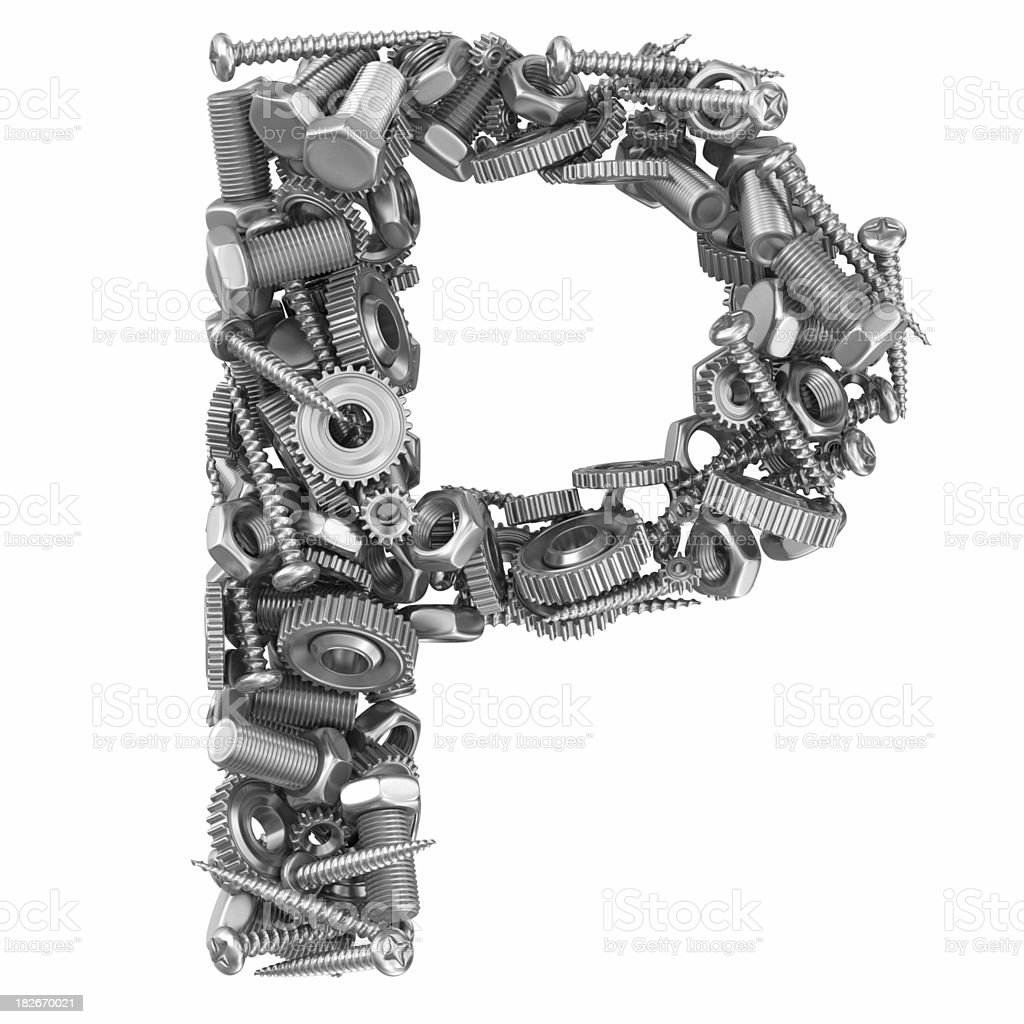 metal screw and gear letter P royalty-free stock photo