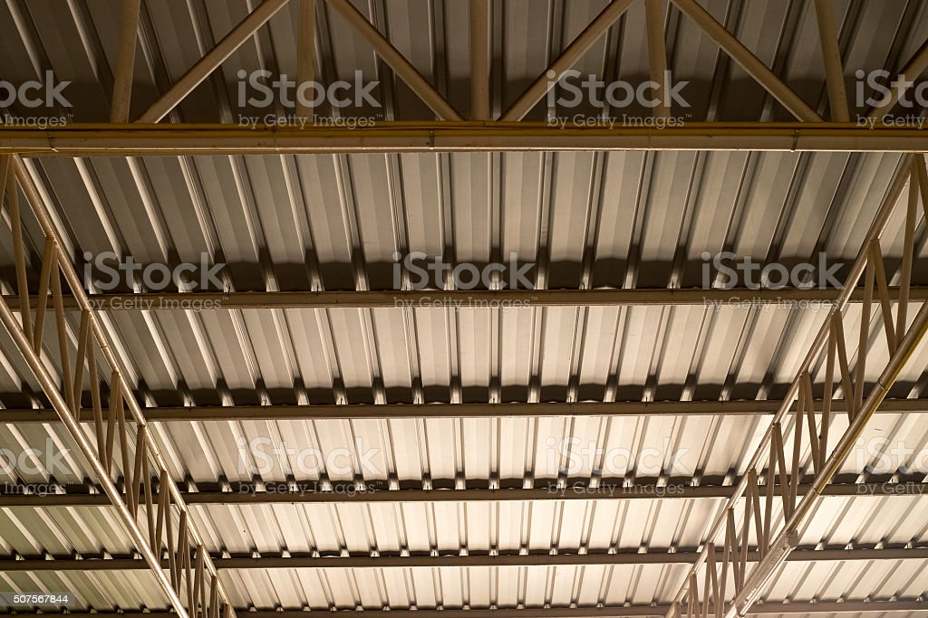 metal sheet part of a roof stock photo
