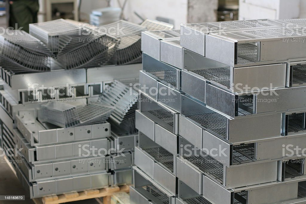 Metal sheets stacked on top of each other stock photo