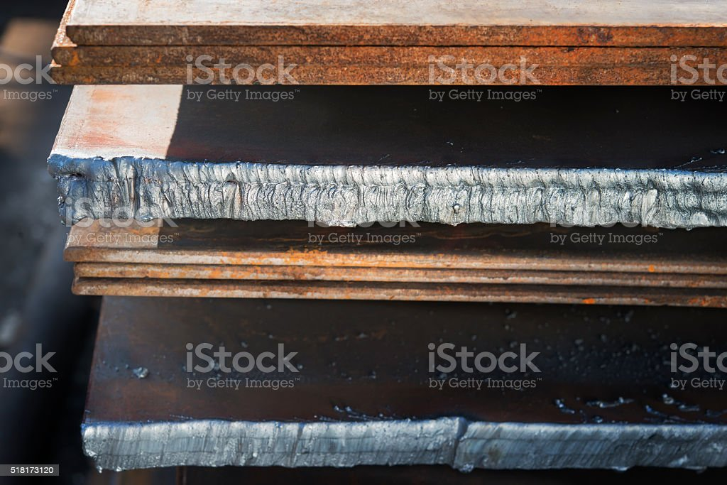 metal sheets with fused edges at the factory warehouse. stock photo