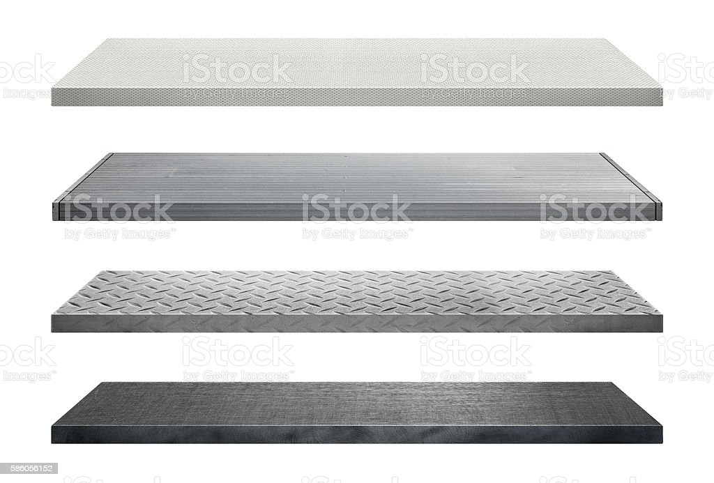 Metal shelves made of steel stock photo