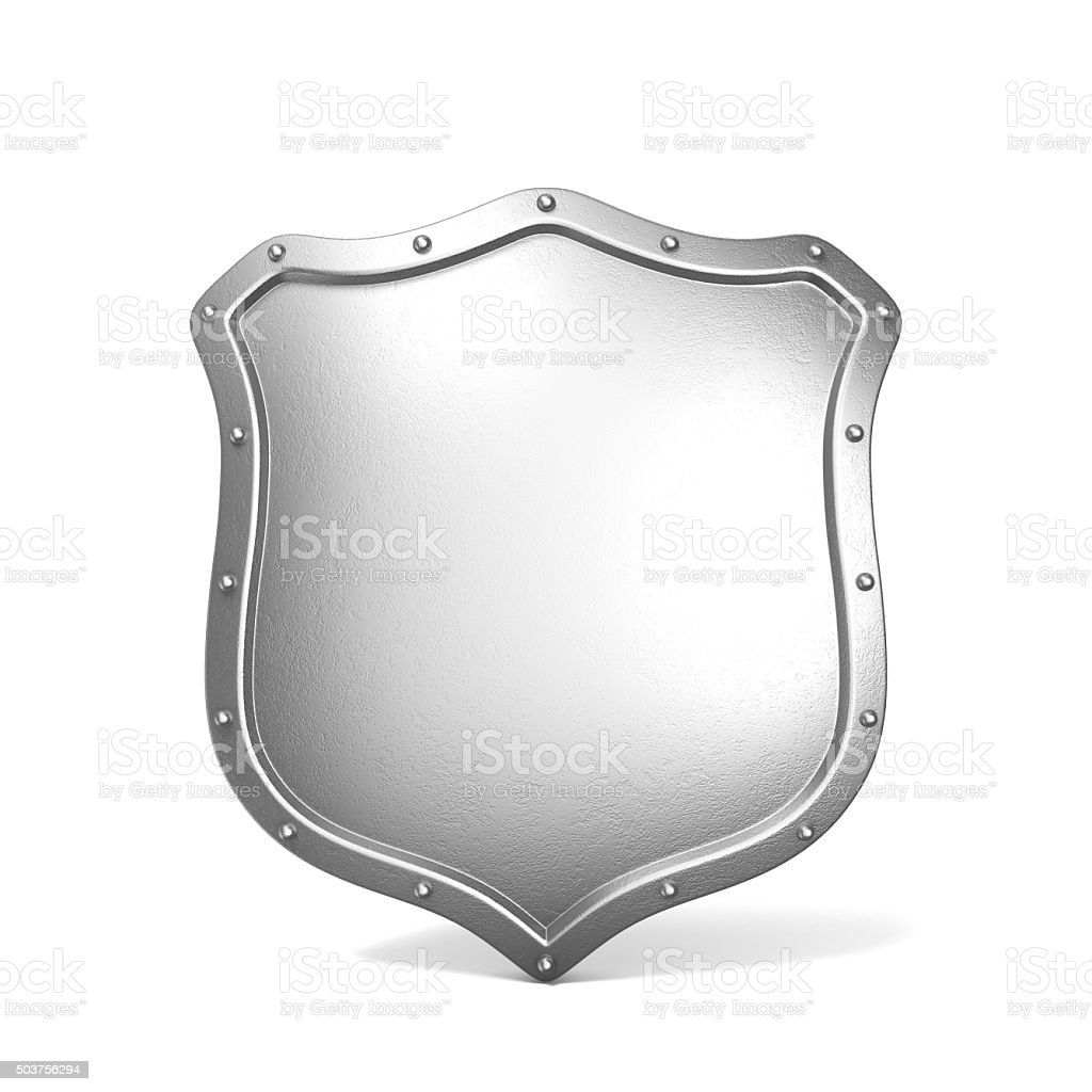 Metal shield. 3D render stock photo