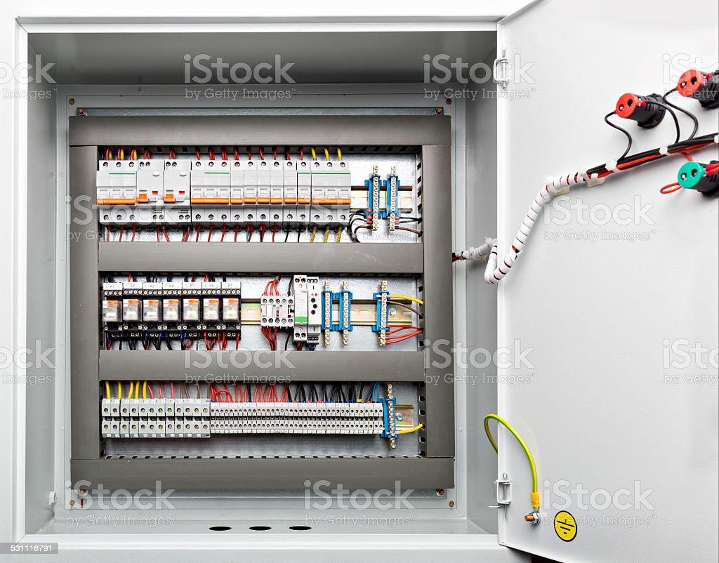 Metal shield energy distribution stock photo