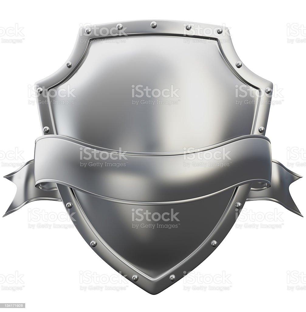 metal shield with ribbon stock photo