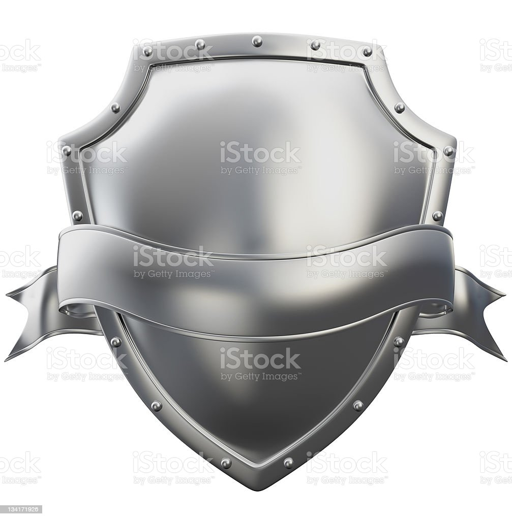 metal shield with ribbon stock photo