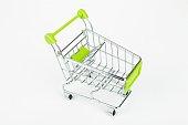 Metal shopping trolley.