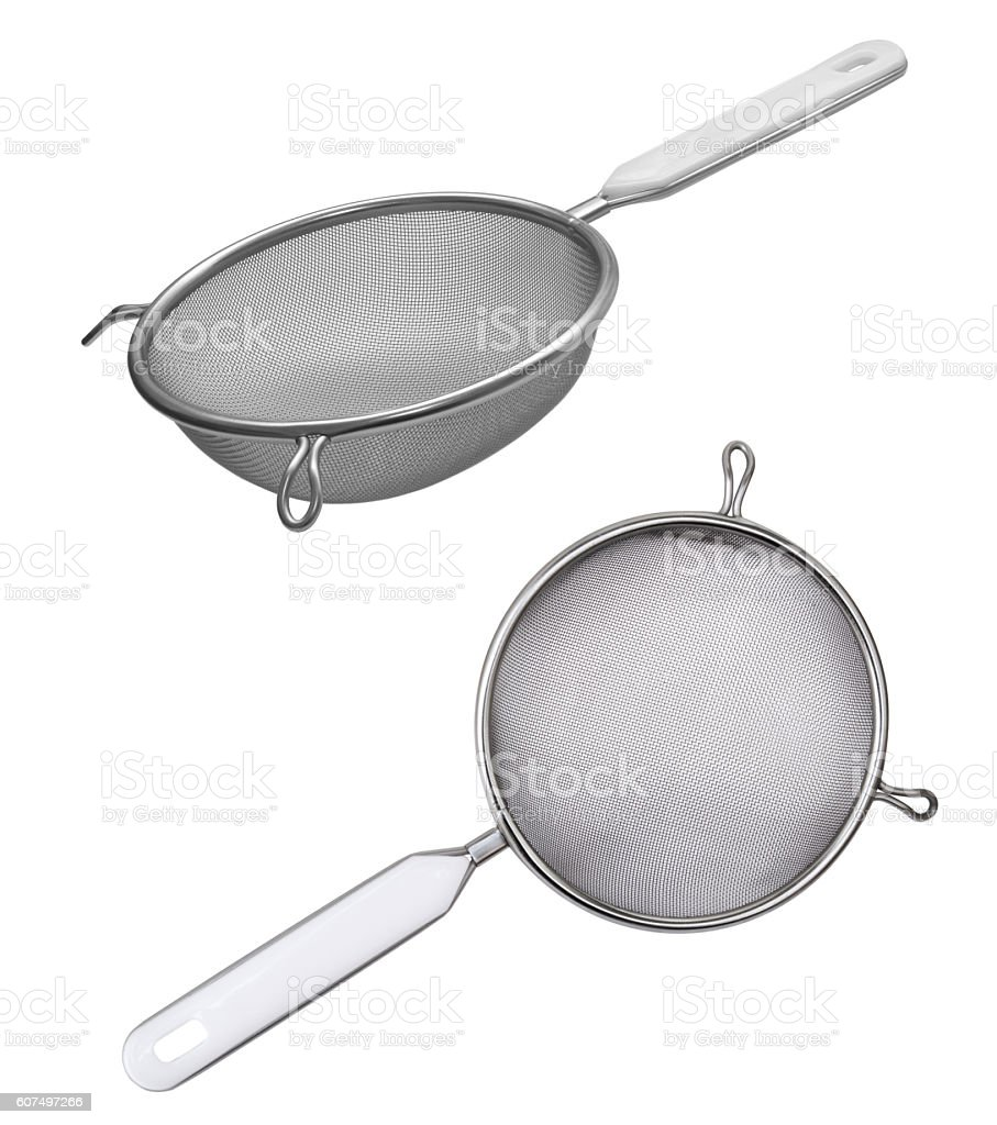 Metal sieve with a plastic handle isolated on white background stock photo
