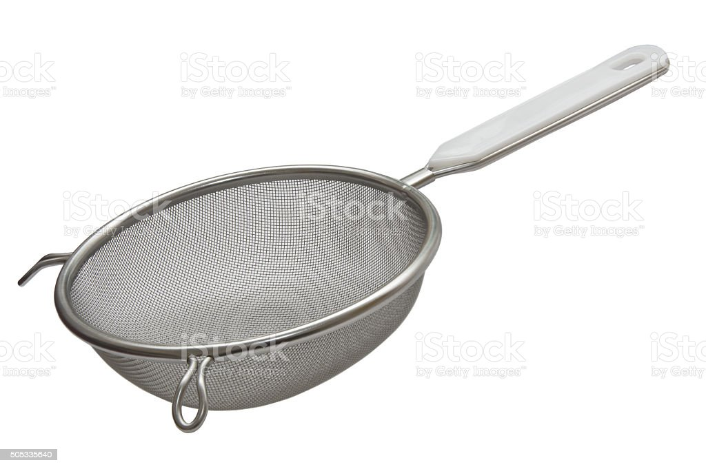 Metal sieve with a plastic handle stock photo